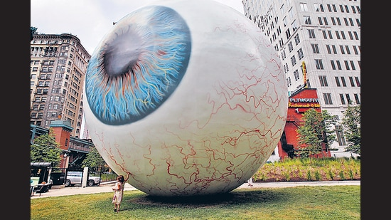 Of eyeballs and ambiguity: A sculpture by Tony Tasset displayed in Prtizker Park on July 7, 2010 in Chicago, USA. (Getty Images)