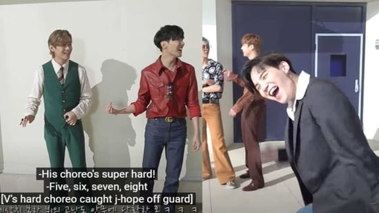 BTS members feature in a behind-the-scene clip from their song Dynamite.