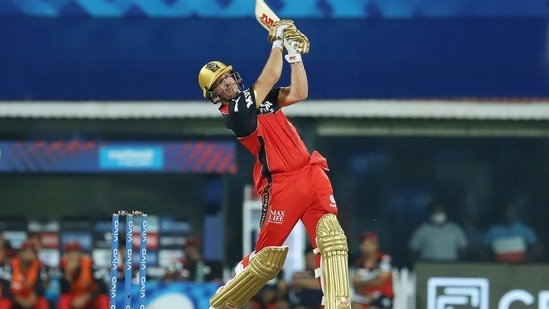AB de Villiers of Royal Challengers Bangalore plays a shot during Indian Premier League 2021 match between Mumbai Indians and Royal Challengers Bangalore, at M. A. Chidambaram Stadium in Chennai.(PTI)