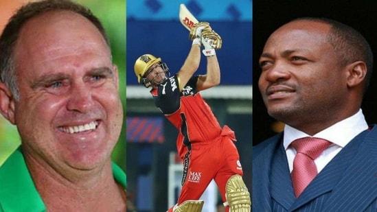 Matthew Hayden (left), AB de Villiers, and Brian Lara (right)(Twitter)