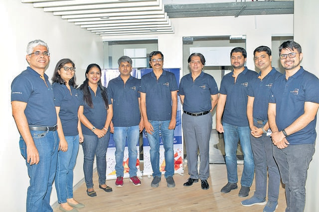 Founders Ajit Patil (extreme left) and Amit Kharat (second from right) with the DeepTek core team based out of Pune. The total team strength is 70 people, including 20 radiologists and 40 data science and technology experts. (HT )