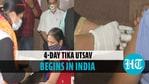भारत में शुरू होता है टीका उत्सव;  लोग कोविद जाब प्राप्त करने के लिए टीकाकरण केंद्रों पर पहुंचते हैं