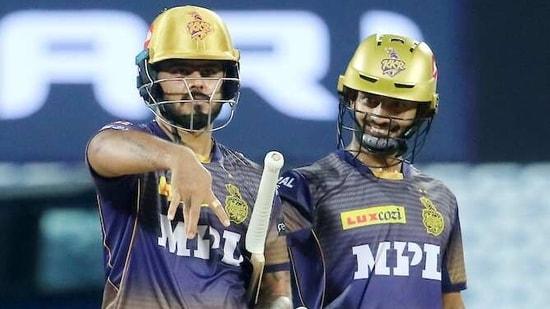 Nitish Rana and Rahul Tripathi of Kolkata Knight Riders.(IPL)