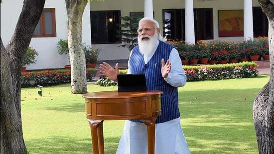 New Delhi, Apr 07 (ANI): Prime Minister Narendra Modi interacts with students, teachers, and parents during 'Pariksha Pe Charcha 2021', via video conferencing, in New Delhi on Wednesday. (ANI Photo) (ANI)