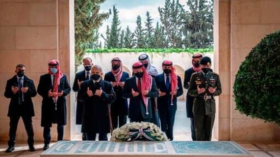 Jordan's King Abdullah II and Prince Hamzah bin Al Hussein have made their first joint public appearance since a palace feud last week.(via AP)