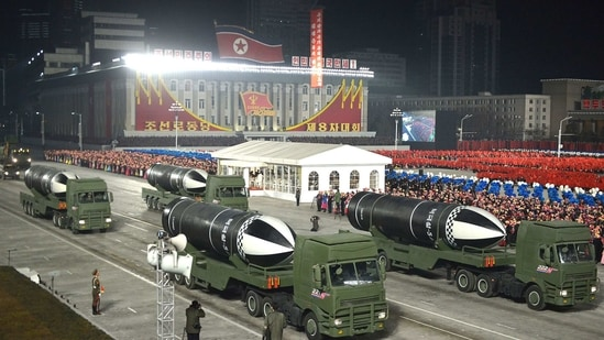 This file photo released by the North Korean govt on January 15 shows what appears to be submarine-launched ballistic missiles during a military parade celebrating the 8th Congress of the Workers' Party of Korea (WPK) in Pyongyang.(AFP PHOTO/KCNA VIA KNS)