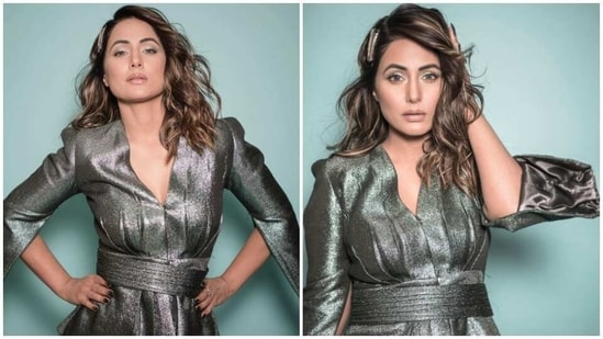 Hina Khan in shimmery grey outfit(Instagram/ realhinakhan)