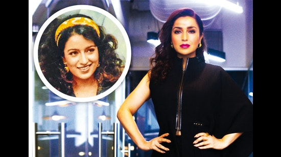 Tisca Chopra, at 22 (inset) and now at 46 (above)