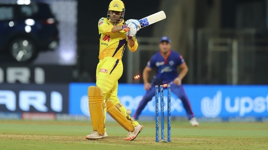 MS Dhoni is dismissed by Avesh Khan on Saturday.(Twitter)