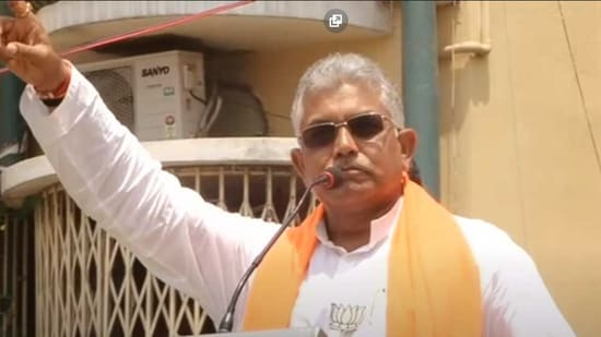 Bengal BJP chief Dilip Ghosh while addressing an election rally at Baranagar in North 24 Parganas district (Screengrab from video)