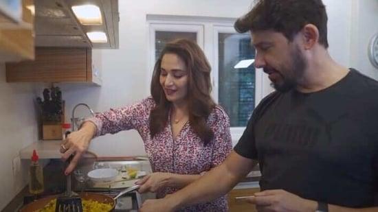 Madhuri Dixit and Dr Shriram Nene, cooking away.