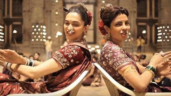 Priyanka Chopra and Deepika Padukone in a still from Bajirao Mastani.