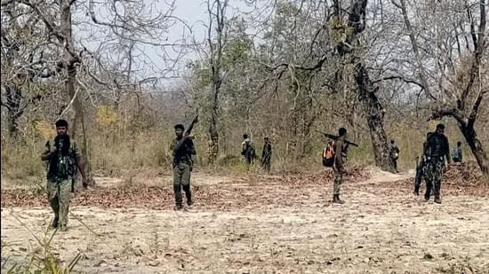 Security personnel at the site of Maoist attack at Sukma-Bijapur border on April 4. (File photo)