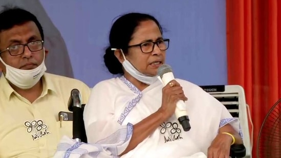 West Bengal Chief Minister Mamata Banerjee addresses a public rally, in Dum Dum on Monday. (ANI Photo)