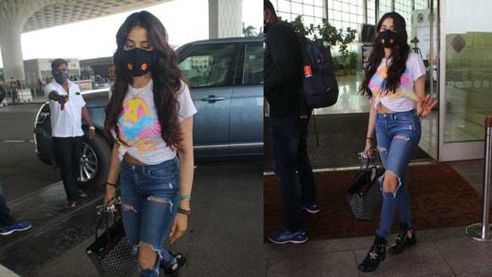 Janhvi Kapoor spotted at the Mumbai airport on Monday.(Varinder Chawla)