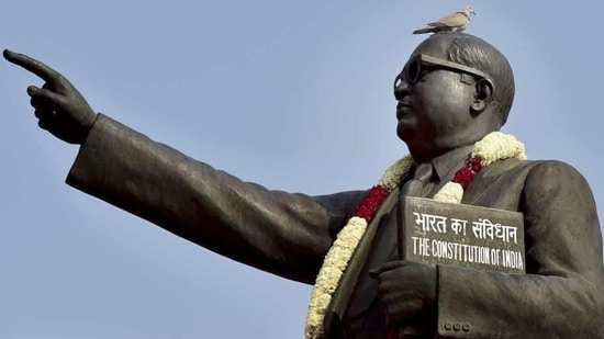 Large number of people visit Ambedkar statue on the occasion of Ambedkar birth anniversary.(PTI FILE PHOTO)
