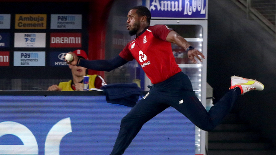 England's Chris Jordan's spectacular fielding effort during the limited-overs series against India(TWITTER)