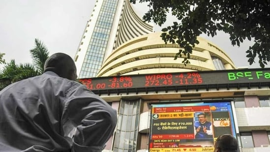 The stock market index on a display screen at the Bombay Stock Exchange (BSE) building in Mumbai.(PTI)