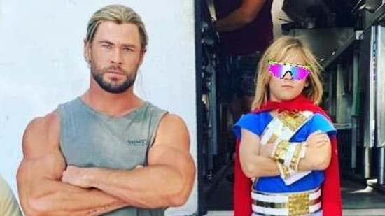 Chris Hemsworth and his son on the sets of Thor: Love and Thunder.