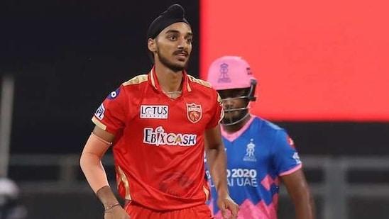 Arshdeep Singh of Punjab Kings during the match between Rajasthan Royals and the Punjab Kings at the Wankhede Stadium in Mumbai on Monday.(ANI Photo/ IPL Twitter)