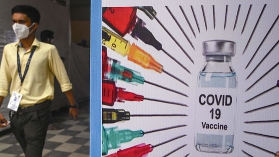 A doctor walks out of a Covid-19 vaccination centre in Mumbai.(Indranil Mukherjee / AFP)