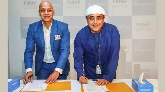 FilMe and Khaleej Times officials at the deal signing ceremony