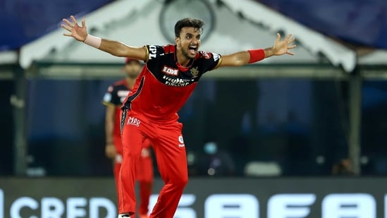 Harshal Patel appeals for the wicket of Hardik Pandya during Indian Premier League 2021 match between Mumbai Indians and Royal Challengers Bangalore, at M. A. Chidambaram Stadium in Chennai, (PTI)