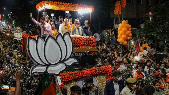 Union home minister and senior BJP leader Amit Shah during an election campaign rally in support of party candidates, in Siliguri on Monday.(PTI Photo)