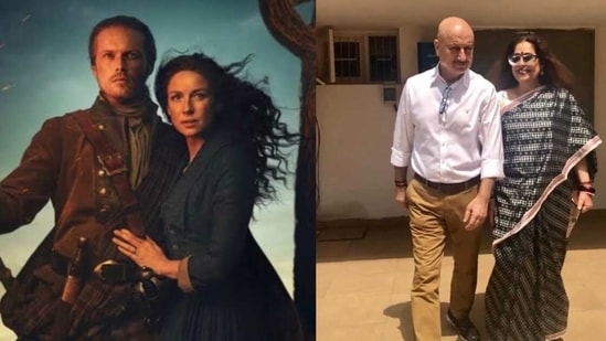 Outlander's Sam Heughan invites Anupam Kher and Kirron Kher on the sets of the show.