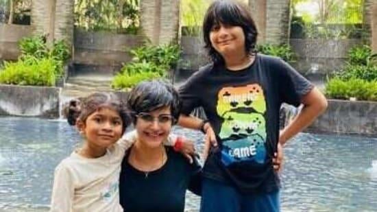 Mandira Bedi poses with her children.