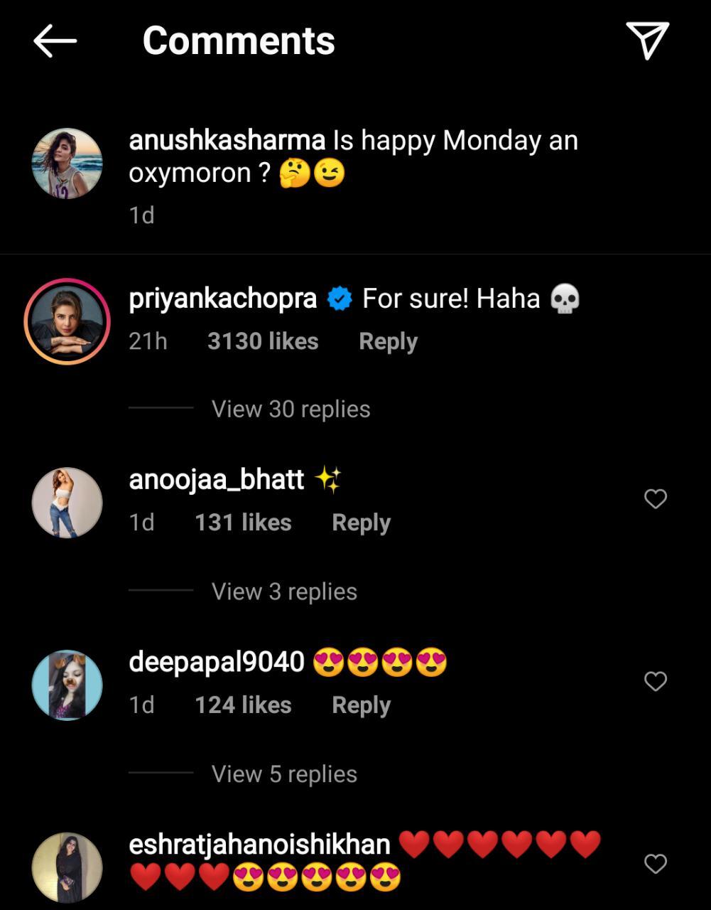 "Priyanka Chopra Jonas reacted to the post saying, ""For sure! Haha"" adding a skull emoticon."