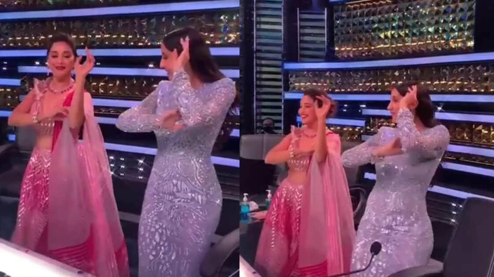 Watch Madhuri Dixit learn Dilbar's hook step from Nora Fatehi on Dance Deewane - Hindustan Times