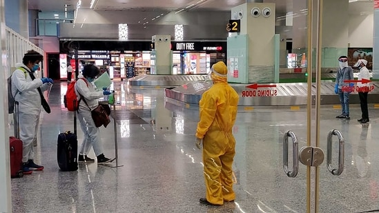 Passengers seen at Chandigarh International Airport in Chandigarh during the lockdown imposed in 2020. (ANI Photo)