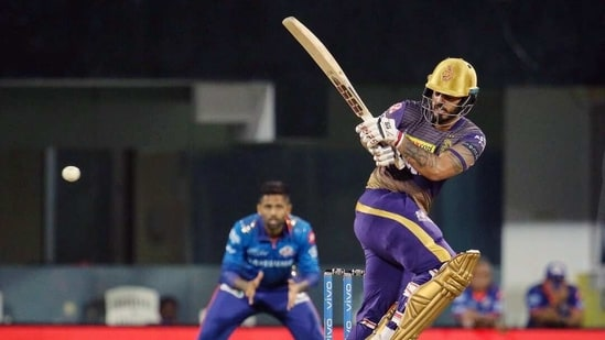 Nitish Rana of Kolkata Knight Riders plays a shot during the match between the Kolkata Knight Riders and the Mumbai Indians at the M. A. Chidambaram Stadium in Chennai on Tuesday. (ANI)