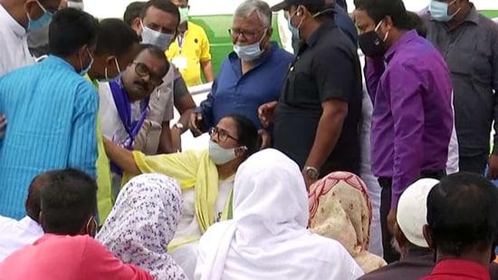 West Bengal CM Mamata Banerjee meetsthe family members of the victims of Sitalkuchi violence, in Cooch Behar (ANI Photo)