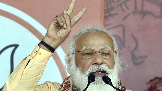 """""""India takes pride in being the mother of democracy as it's values are embodied in our social life,"""" Modi said at the Association of Indian Universities' 95th annual meet and a national seminar of vice-chancellors.(HT_PRINT)"""
