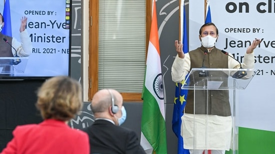 Union environment minister Prakash Javadekar addresses an event at the French embassy in New Delhi on Tuesday. (Photo by Prakash SINGH / AFP)(AFP)