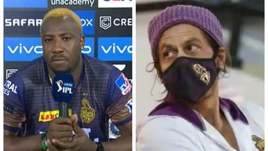 Andre Russell and Shah Rukh Khan