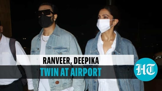 Ranveer Singh, Deepika Padukone twin at airport as they jet out of Mumbai