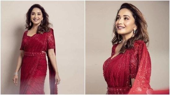 Madhuri Dixit looks stunning in red saree(Instagram/ madhuridixitnene)