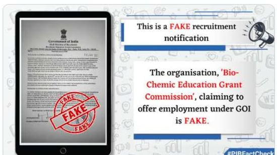 PIB has tweeted a fact-check regarding this fake recruitment notification on its official Twitter handle.(pib.gov.in)