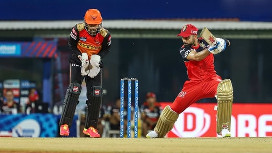 RCB captain Virat Kohli plays a shot during Indian Premier League cricket match between Sunrisers Hyderabad and Royal Challengers Bangalore at the M. A. Chidambaram Stadium, in Chennai, Wednesday, April 14, 2021. (PTI)