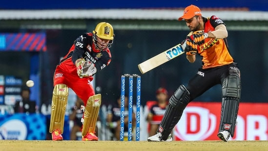 Manish Pandey of Sunrisers Hyderabad plays a shot during Indian Premier League cricket match between Sunrisers Hyderabad and Royal Challengers Bangalore at the M. A. Chidambaram Stadium, in Chennai, Wednesday, April 14, 2021.(PTI)