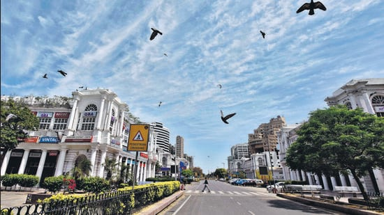 View of a deserted Connaught Place. (HT Archive)