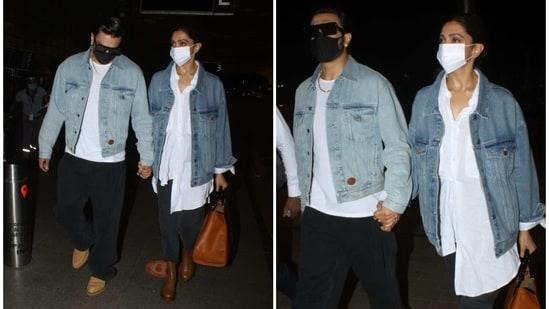 Ranveer Singh and Deepika Padukone at the Mumbai airport on Wednesday.(Varinder Chawla)