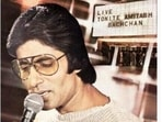 Amitabh Bachchan during his first live performance, which was also the first time an Indian performed at the Madison Square Garden, New York.