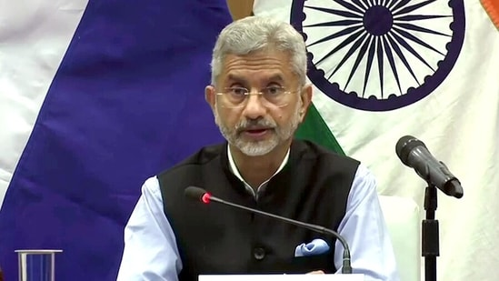 External Affairs Minister Dr. S Jaishankar addresses while issuing the joint statement with his Russian counterpart Sergey Lavrov in New Delhi on Tuesday. (ANI Photo)
