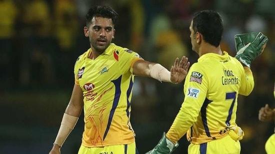 Deepak Chahar and CSK captain MS Dhoni. (IPL)