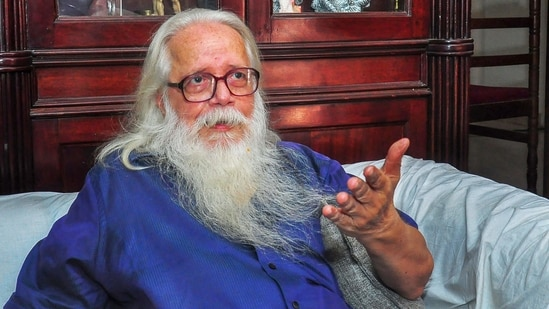Former ISRO scientist Nambi Narayanan speaks to media, in Thiruvananthapuram in this file picture from 2018.(PTI File Photo)