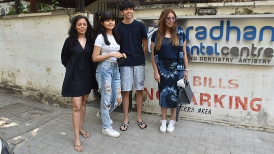 Mahima Chaudhary with her daughter Ariana, sister and nephew.